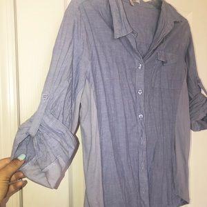 Ellen Tracy Company 3/4 Sleeve Chambray Shirt